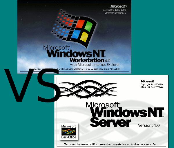 Jaquettes des deux versions de Windows NT 4.0 : Poste de travail, et Serveur